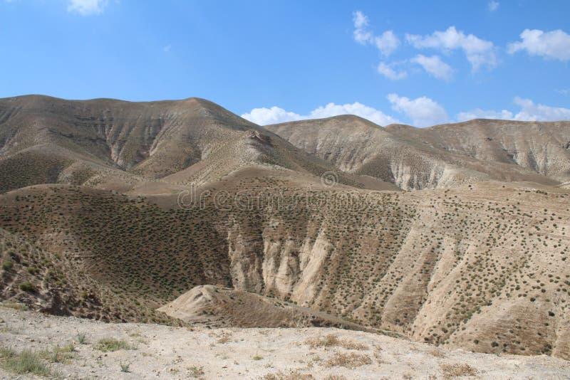 Wadi Qelt en el desierto de Judean cerca de Jericó, de la naturaleza, de la piedra, de la roca y del oasis Lugares no vistos, des foto de archivo