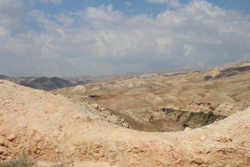 Wadi Qelt en el desierto de Judean cerca de Jericó, de la naturaleza, de la piedra, de la roca y del oasis Lugares no vistos, des fotografía de archivo
