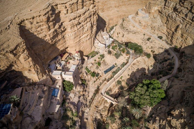 Wadi Qelt in Judean-Wüste um St. George Orthodox Monastery lizenzfreie stockfotos