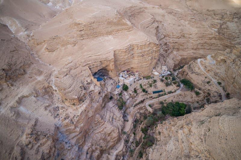 Wadi Qelt in Judean-Wüste um St. George Orthodox Monastery stockfoto