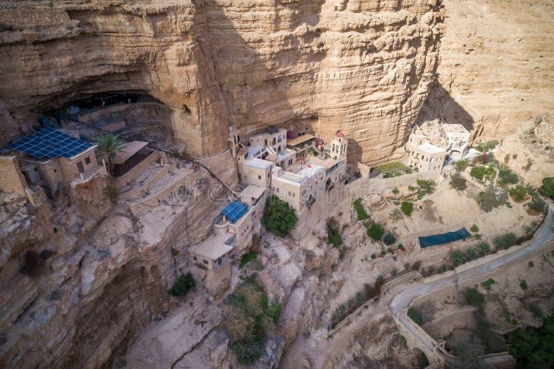Wadi Qelt in Judean-Wüste um St. George Orthodox Monastery stockfotografie