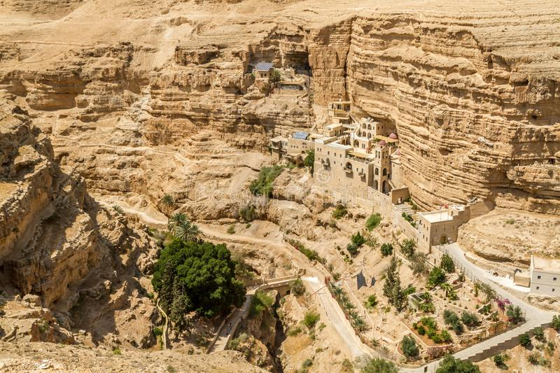 The Wadi Qelt, Monastery of St. George in Israel. The Greek Orthodox monastery of Saint George of Choziba in Judaean Desert near Jericho in the Holy Land, Israel royalty free stock images