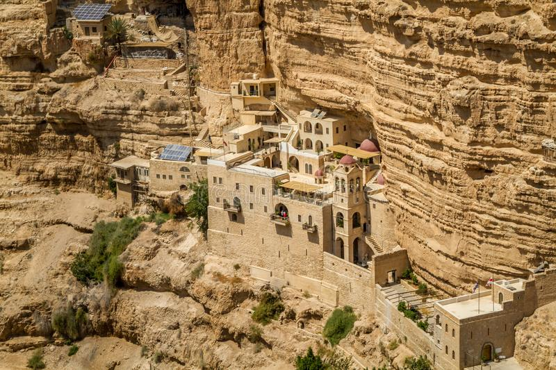 The Wadi Qelt, Monastery of St. George in Israel. The Wadi Qelt or Nahal Prat, the Greek Orthodox monastery of Saint George of Choziba in Judaean Desert near stock photos