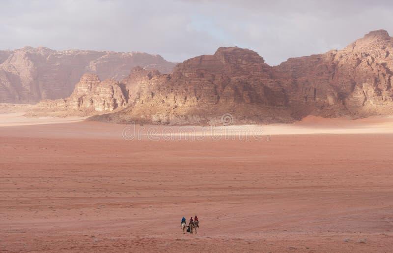 Wadi Rum ökenlandskap i Jordanien med turister som rider kamel i morgonen royaltyfria bilder