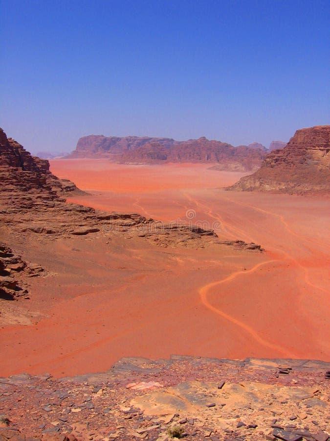 WADI RUM DESERT. 'A road' on the Wadi Rum desert in Jordan royalty free stock images