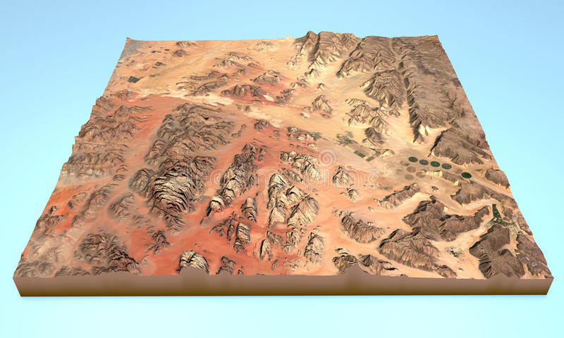 Wadi Rum desert Jordan map aerial view vector illustration