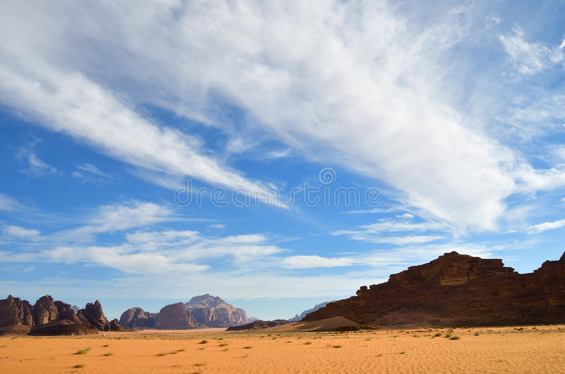 Wadi Rum desert, Jordan. Wadi Rum desert The Moon Valley landscape at sunset time, Jordan royalty free stock photos