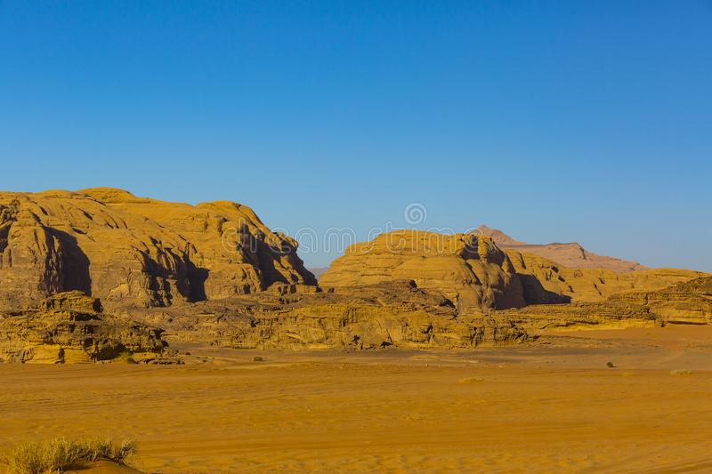 Wadi Rum Desert in Jordan sand. Stone royalty free stock images