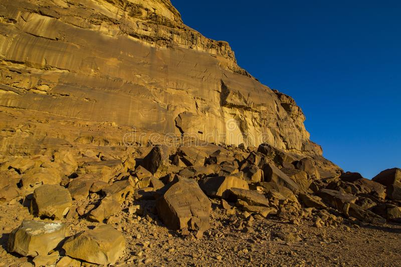 Wadi Rum Desert in Jordan sand. Stone royalty free stock photos