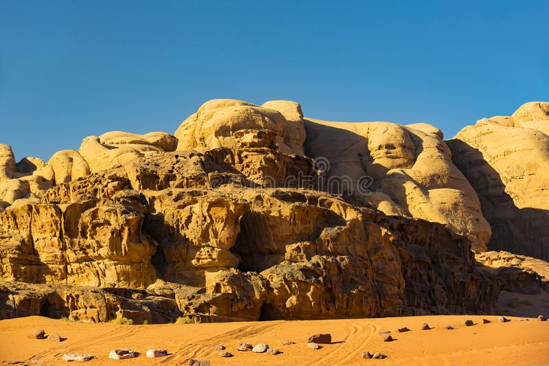 Wadi Rum Desert in Jordan sand. Stone royalty free stock photo