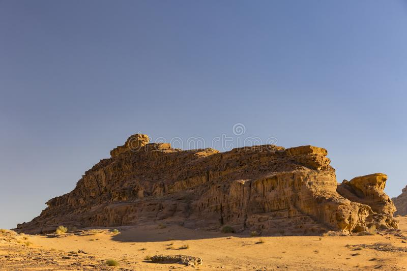 Wadi Rum Desert in Jordan sand. Stone stock photography