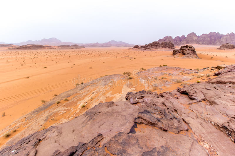 Wadi rum desert in Jordan. View of Wadi rum desert in Jordan royalty free stock image