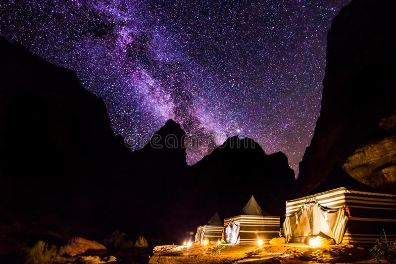 Wadi Rum desert landscape at night, Jordan.  stock photo