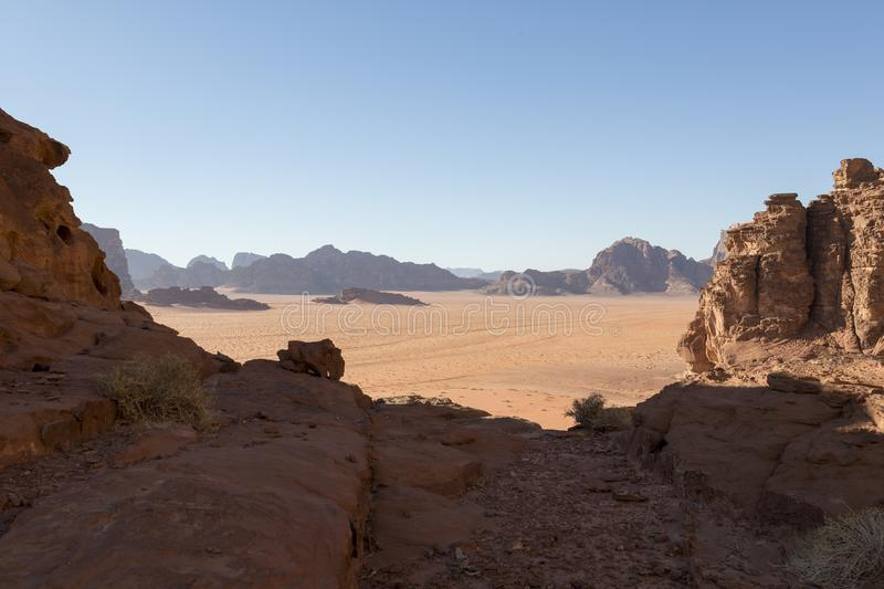 Wadi Rum desert landscape. Jordan stock photo