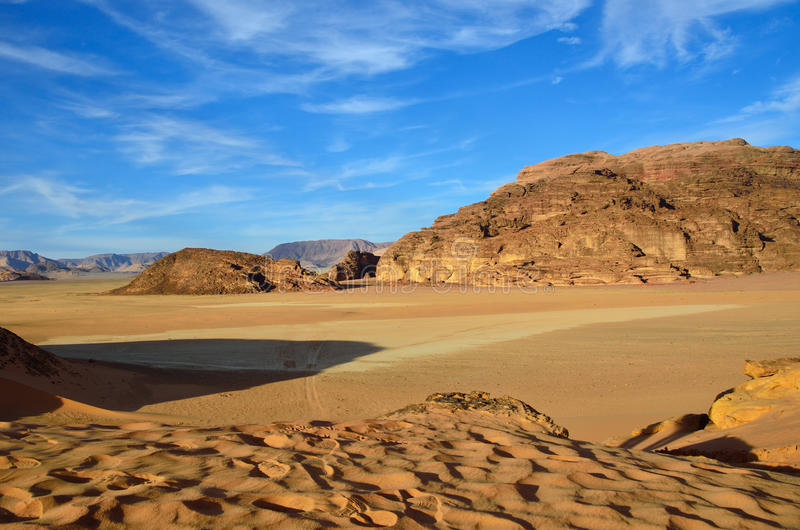 Wadi Rum desert. Wadi Rum (Moon Valley) desert landscape at sunset time, Jordan royalty free stock photos