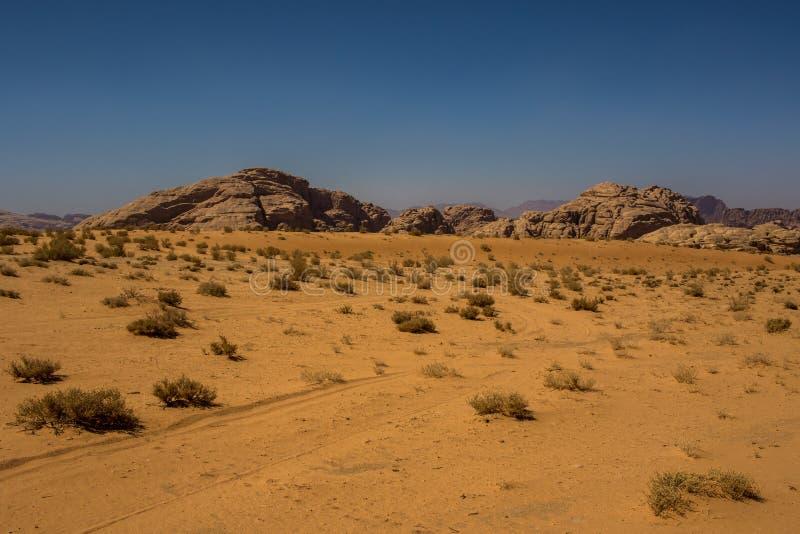 Jordan Wadi Rum landscapes, Desert Tourist Location. Wadi Rum Jordan, Camping, Camels, Site Seeing, Desert, 4x4 Driving, tourist location royalty free stock photography