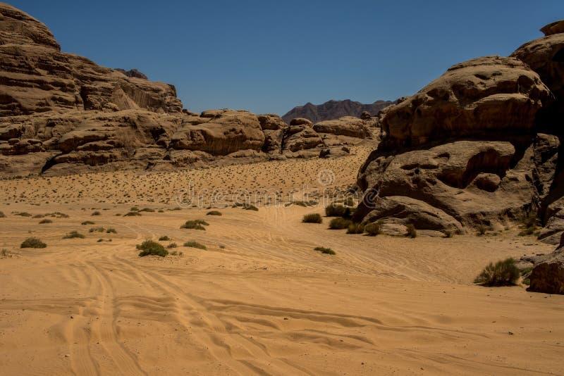 Jordan Wadi Rum landscapes, Desert Tourist Location. Wadi Rum Jordan, Camping, Camels, Site Seeing, Desert, 4x4 Driving, tourist location stock image
