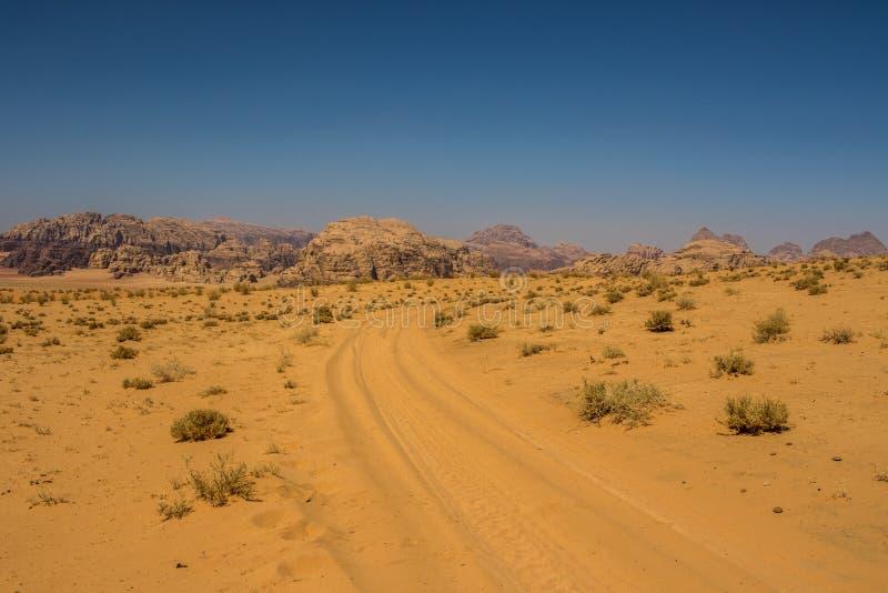 Jordan Wadi Rum landscapes, Desert Tourist Location. Wadi Rum Jordan, Camping, Camels, Site Seeing, Desert, 4x4 Driving, tourist location stock photo