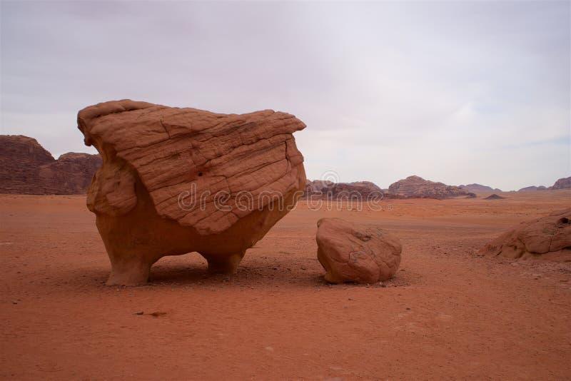 Wadi Rum Jordan Desert Chicken Rock royalty free stock photos