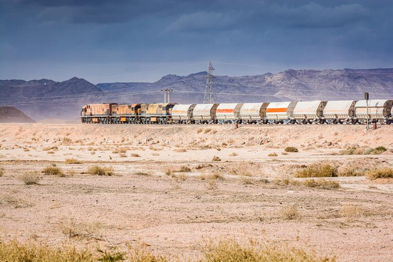 Wadi Rum, Jordan - January 26, 2012. Train of mine in desert.  stock image
