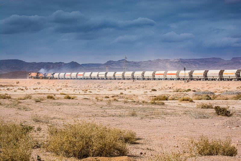 Wadi Rum, Jordan - January 26, 2012. Train of mine in desert.  stock photography