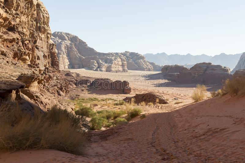 Wadi Rum The Moon Valley desert landscape at sunset time. Jordan stock images