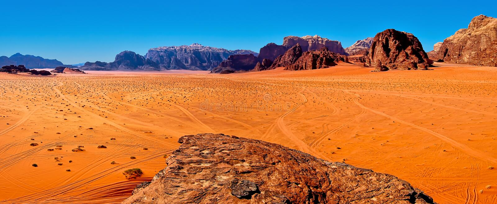 Wadi Rum. Panoramic view of the desert of Wadi Rum, Jordan stock images