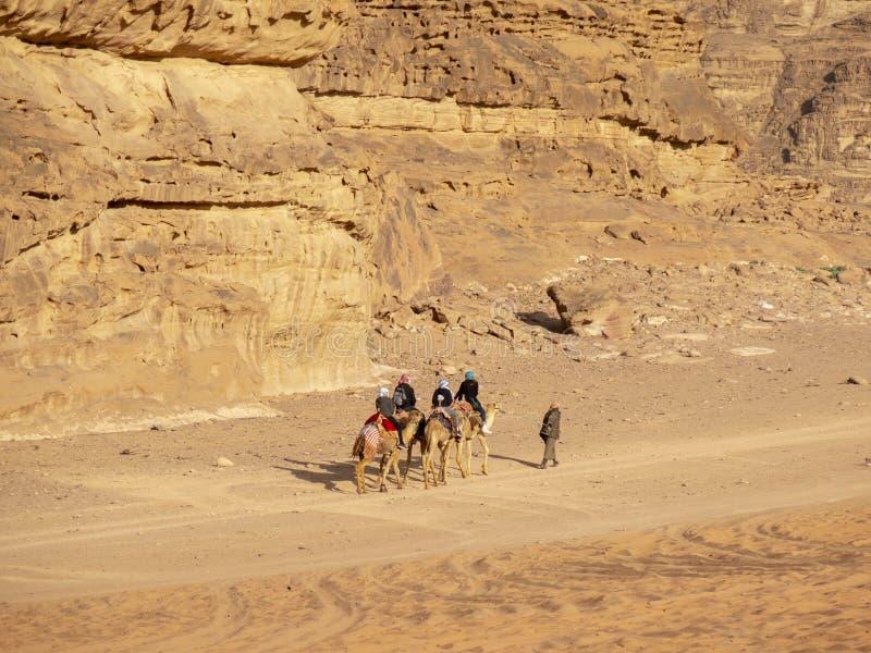 Wadi Run Desert, Jordan Travel, Kameelrit royalty-vrije stock afbeeldingen