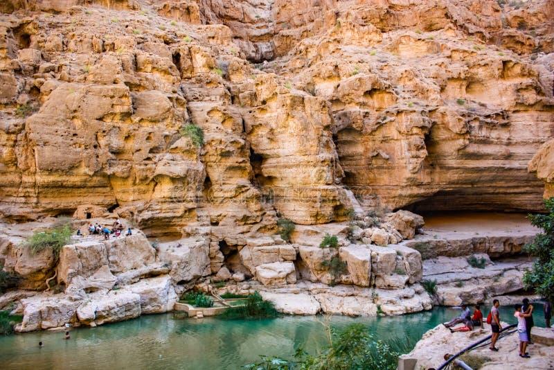 Wadi Shab in Oman stock foto's