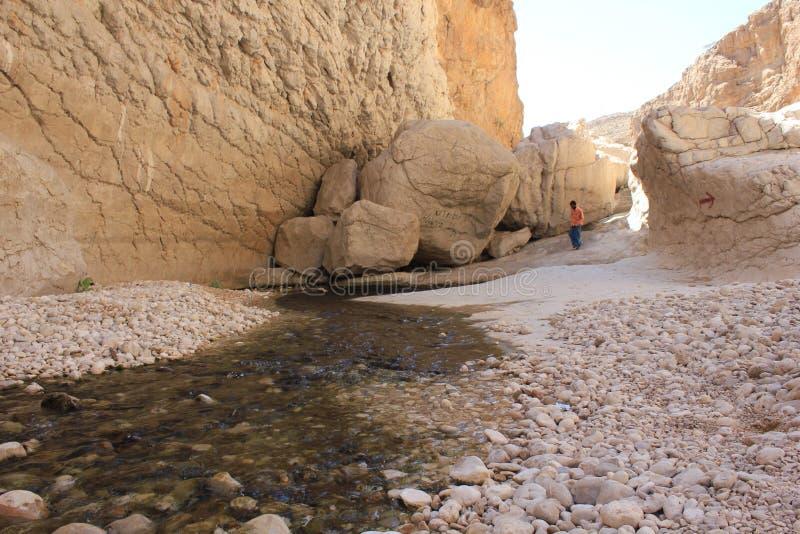 Wadi Shab in Oman Een Waterparadijs in de woestijn royalty-vrije stock fotografie