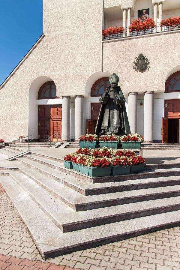 Free WADOWICE, POLAND, August 5, 2017: Wadowice Is The Place Of Birth Of Pope John Paul II. Church Of St. Peter The Apostle. Statue Of Stock Photo - 97614440