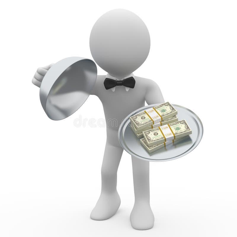 Wads da bandeja cinco do serviço do empregado de mesa dos dólares ilustração do vetor