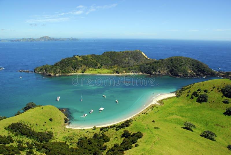 Waewaetorea Passage - Bay of Islands, New Zealand. Aerial royalty free stock photography