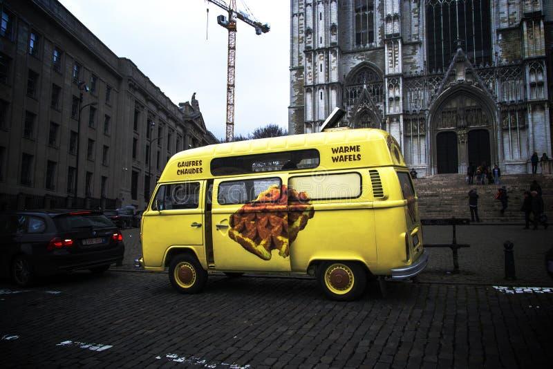 Wafels in de Bus van Brussel stock foto's