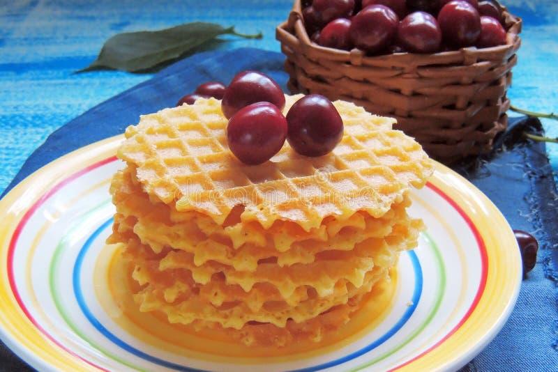 Wafels en fruit, aardbeien en kersen royalty-vrije stock foto