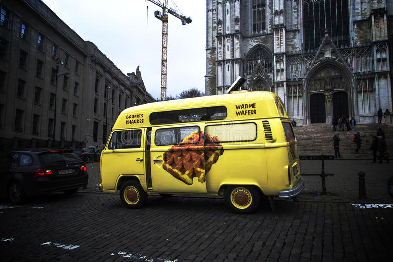 Wafels w Brukselskim autobusie zdjęcia stock