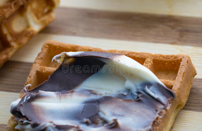 Wafeltje Met Chocolade Stock Fotografie