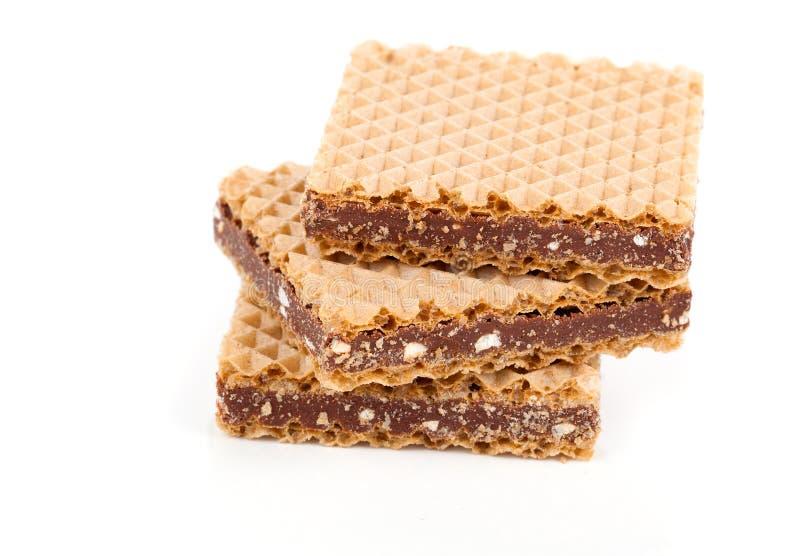 Wafeltjes met chocolade royalty-vrije stock foto