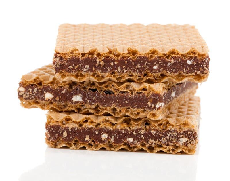 Wafeltjes met chocolade stock fotografie
