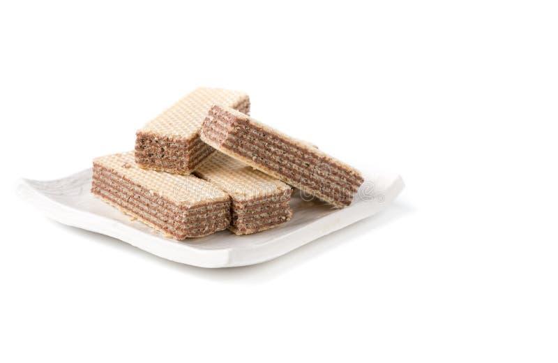 Wafer con cioccolato isolato fotografia stock libera da diritti