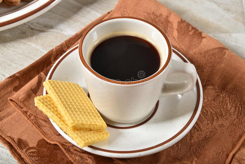 Wafer cookies and coffee royalty free stock images