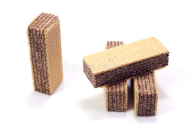 Wafer del cioccolato in isolato in immagine stock