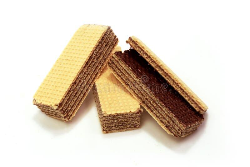 Wafer del cioccolato in isolato in fotografia stock libera da diritti