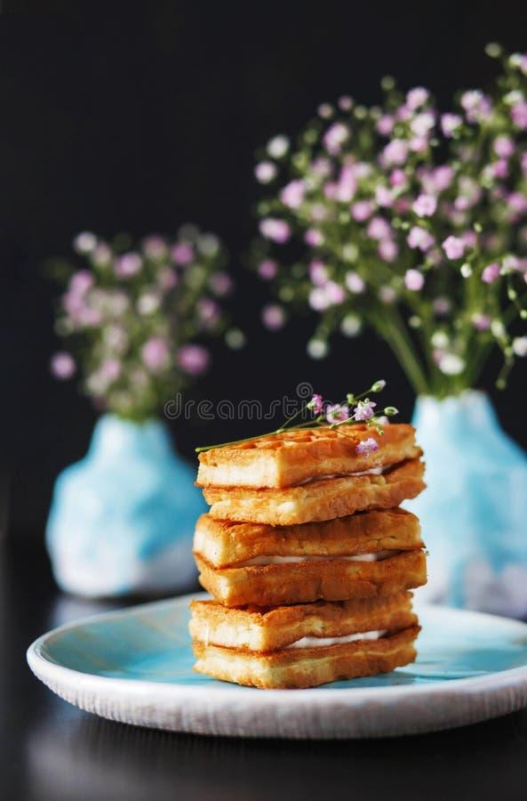 Wafer deliziosi della foto tre dell'alimento con materiale da otturazione bianco nei vasi blu-chiaro della ciotola con il respiro immagini stock libere da diritti