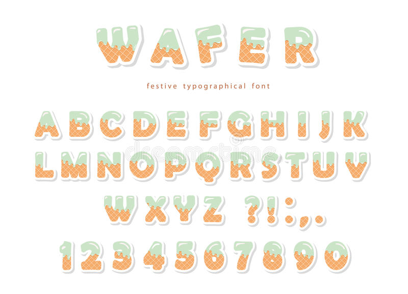 Wafer font. Cute sweet letters and numbers can be used for birthday card, baby shower, Valentines day, sweets shop vector illustration