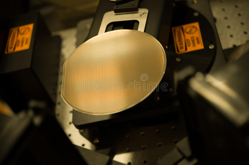 Wafer in production process. Wafer within production process, semiconductor royalty free stock image