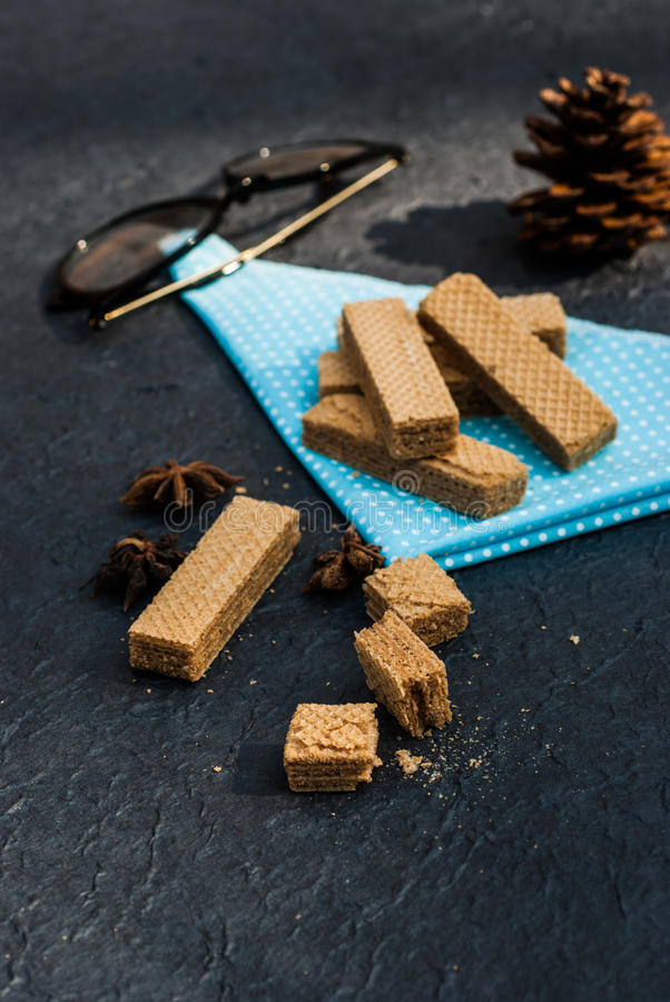 Wafers with vanilla pods royalty free stock photography