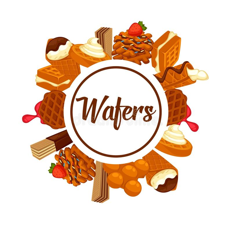 Wafers and waffles dessert cookie or cake desserts vector confectionery poster royalty free illustration