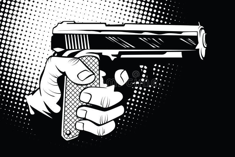 Waffe in der Hand im Stil der Pop-Art stock abbildung