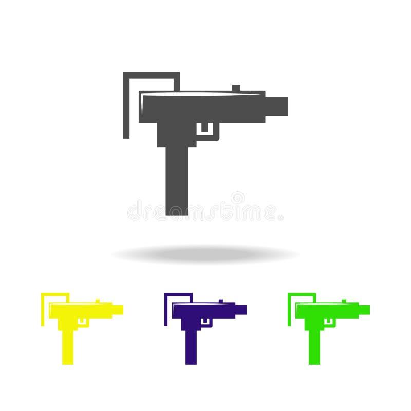 Waffe, Schrotflinte färbte Ikonen Element der Militärillustration Zeichen und Symbole können für Netz, Logo, mobiler App, UI, UX  lizenzfreie abbildung